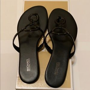 Micheal Kors Flat black sandals - comes with box